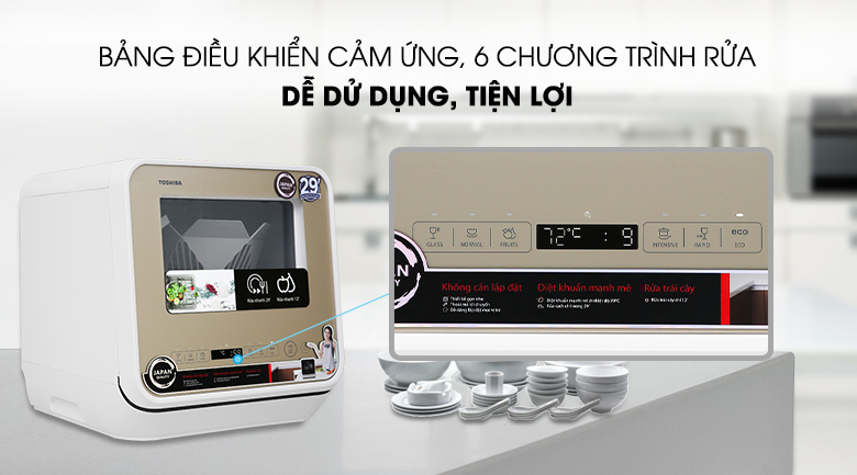 Tiện dụng, dễ dùng - Máy rửa chén Toshiba DWS-22AVN N 730W