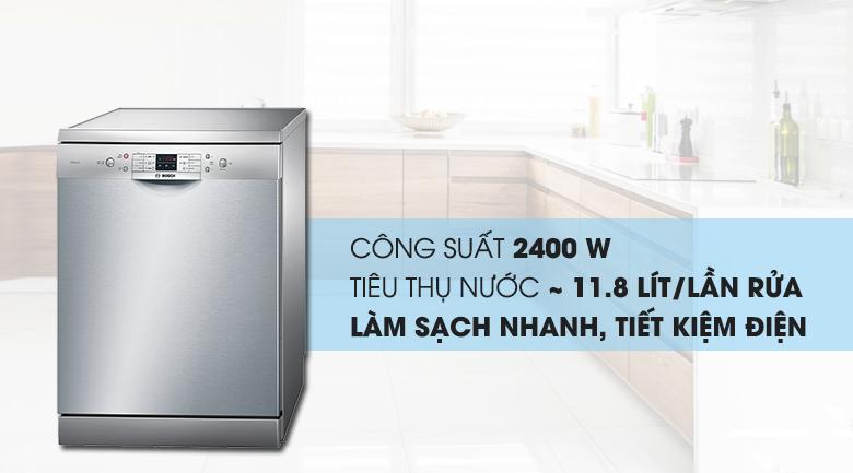 Công suất lớn 2400 W - Máy rửa chén Bosch SMS63L08EA 2400W