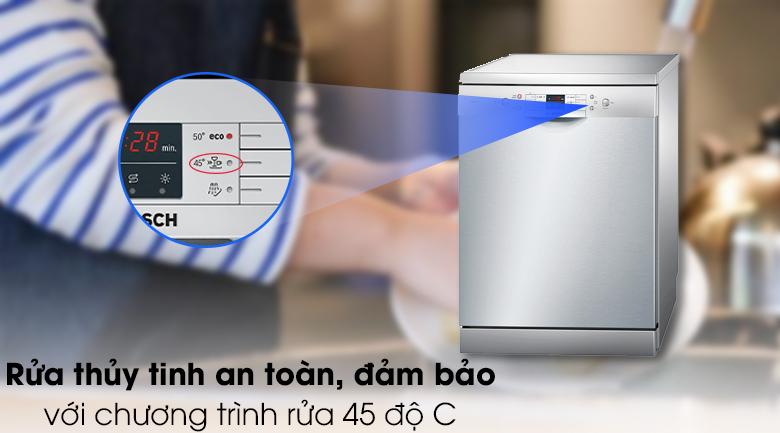 Máy rửa chén Bosch SMS63L08EA 2400W - Rửa thủy tinh với chương trình rửa 45 độ C