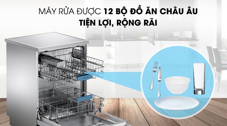 Rửa được 12 bộ đồ ăn Châu Âu - Máy rửa chén Bosch SMS63L08EA 2400W