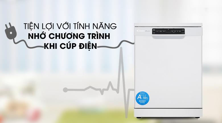 Chức năng nhớ chương trình sau khi cúp điện - Máy rửa chén dạng thùng Candy CDPN 4D620PW 2150W