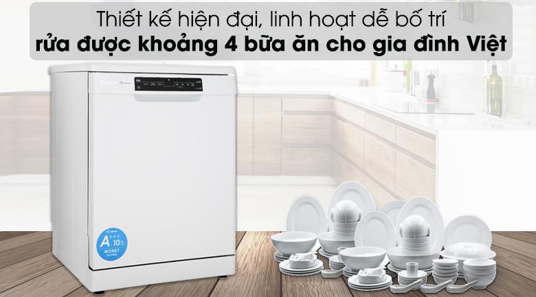 Máy rửa chén Candy CDPN 4D620PW 2150W - Rửa được khoảng 4 bữa ăn cho gia đình Việt