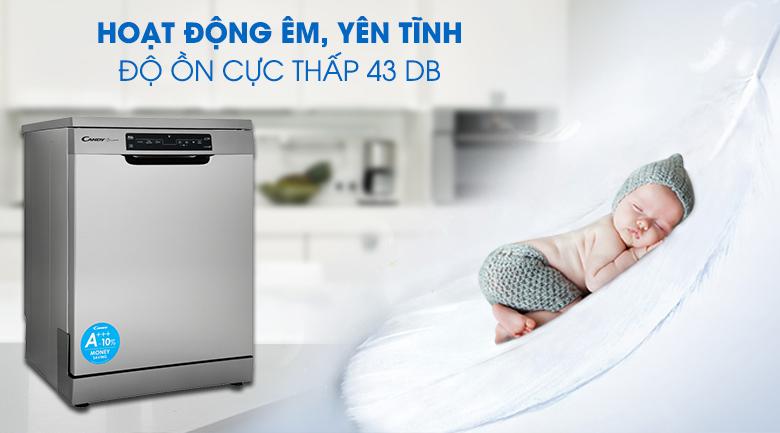 Độ ồn 43 dB giúp máy hoạt động êm ái - Máy rửa chén Candy CDPN 4D620PX 2150W