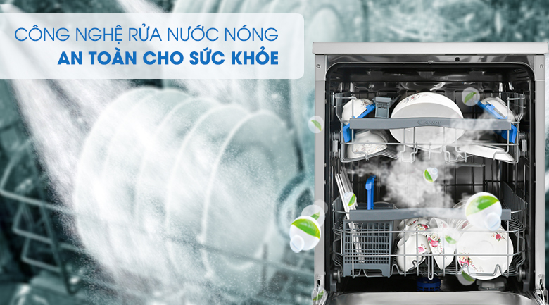 Công nghệ rửa nước nóng - Máy rửa chén Candy CDPN 4D620PX 2150W