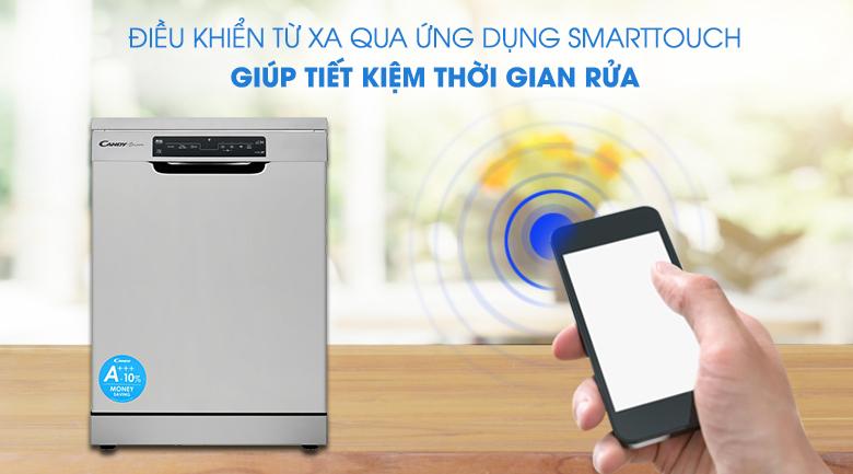 Kết nối với điện thoại qua ứng dụng Smarttouch - Máy rửa chén Candy CDPN 4D620PX 2150W