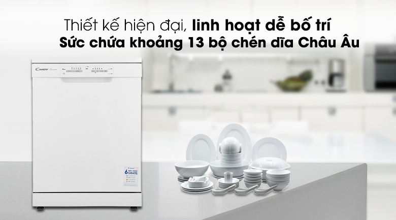 Máy rửa chén Candy CDPN 1L390PW 2150W - Thiết kế linh hoạt, chứa khoảng 13 bộ chén đĩa Châu Âu