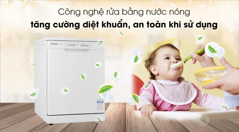 Máy rửa chén Candy CDPN 1L390PW 2150W - Công nghệ rửa nước nóng giúp diệt khuẩn, an toàn