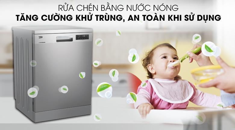 Sạch sâu, diệt khuẩn với công nghệ rửa nước nóng và chức năng sấy