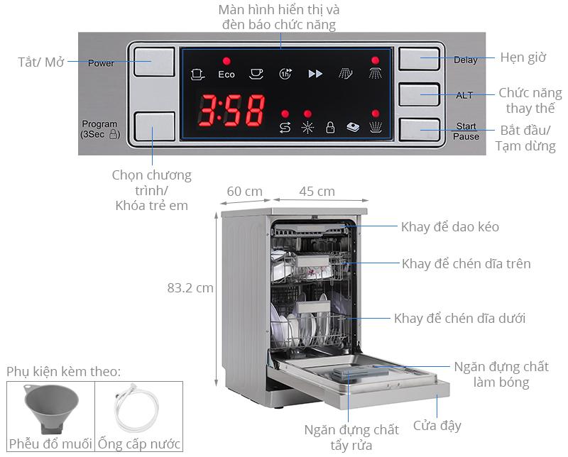 Máy rửa chén độc lập Có Sấy Galanz W45A3A401S-0E1(SS)