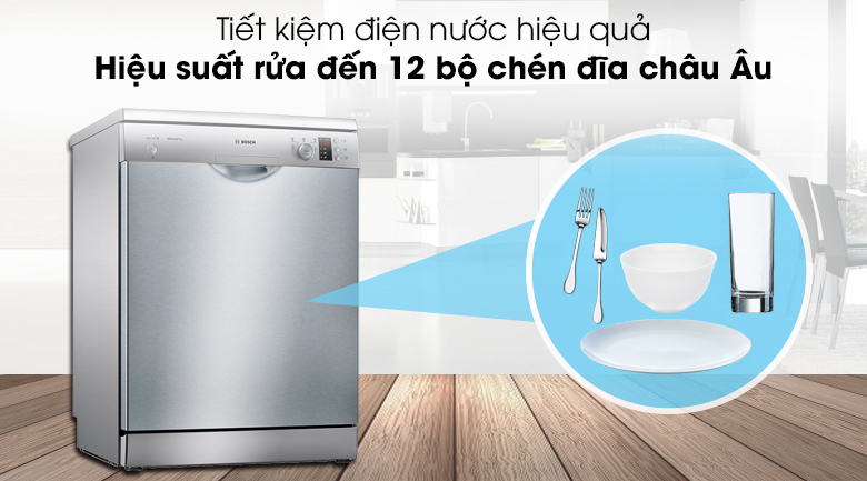 Máy rửa chén Bosch SMS25DI05E có thể rửa sạch 12 bộ chén dĩa châu Âu