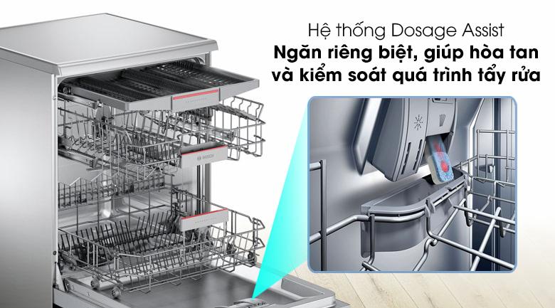 Máy rửa chén Bosch SMS46MI01G 2400W trang bị hệ thống Dosage Assist giúp cho chất tẩy rửa dễ dàng hòa tan hơn