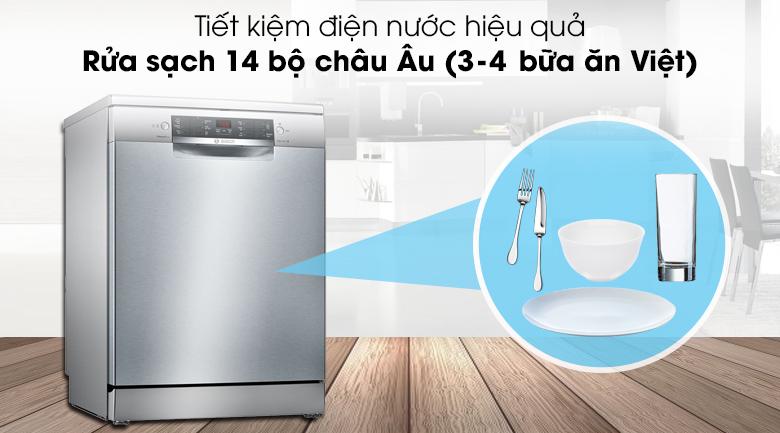 Máy rửa chén Bosch SMS46MI01G 2400W có thể rửa sạch 14 bộ chén dĩa Châu Âu (3 - 4 bữa ăn Việt)
