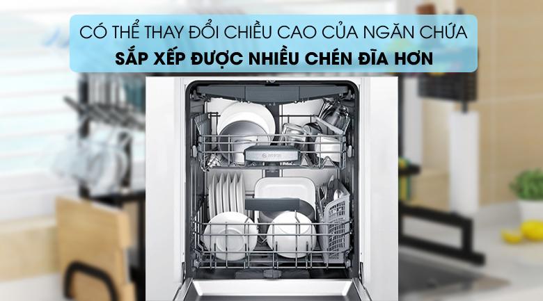Máy rửa chén Bosch HMH.SMS68PW01E 2400W sắp được nhiều chén đĩa