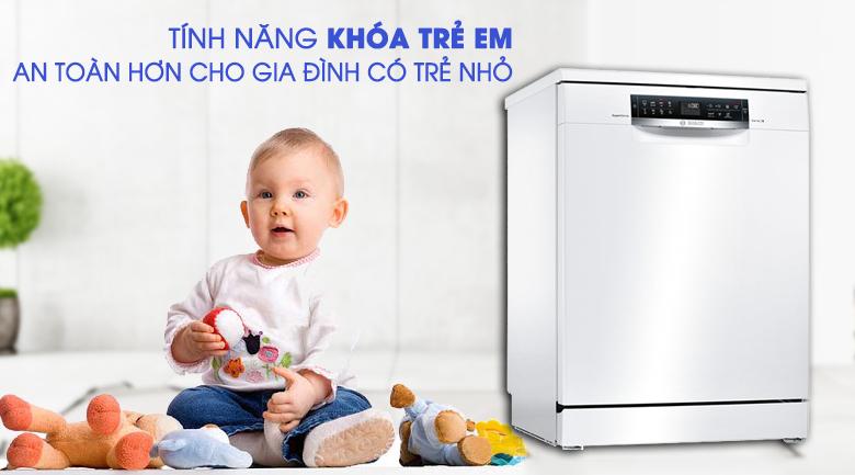 Máy rửa chén Bosch HMH.SMS68PW01E 2400W an toàn với khóa trẻ em