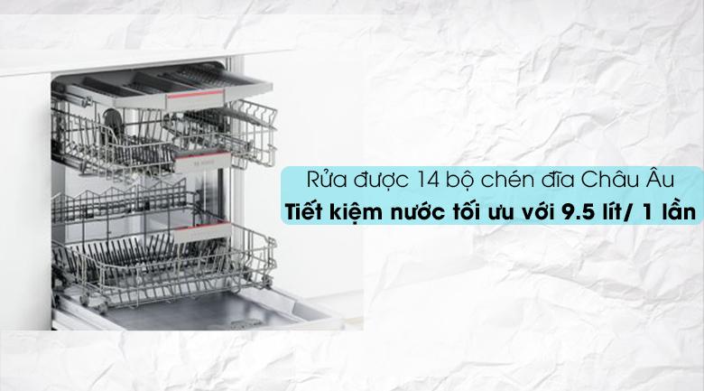 Máy rửa chén Bosch HMH.SMI46MS03E 2400W có khả năng rửa nhiều chén đĩa