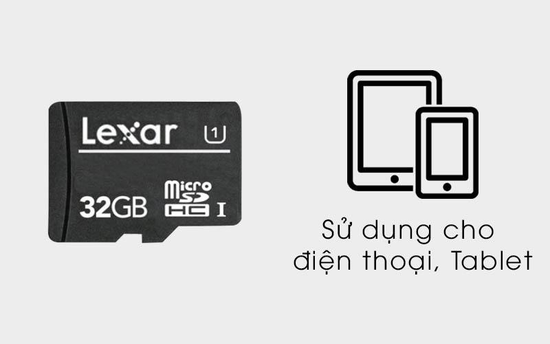 Sử dụng cho điện thoại, máy tính bảng - Thẻ nhớ MicroSD 32 GB Lexar class 10 UHS-I