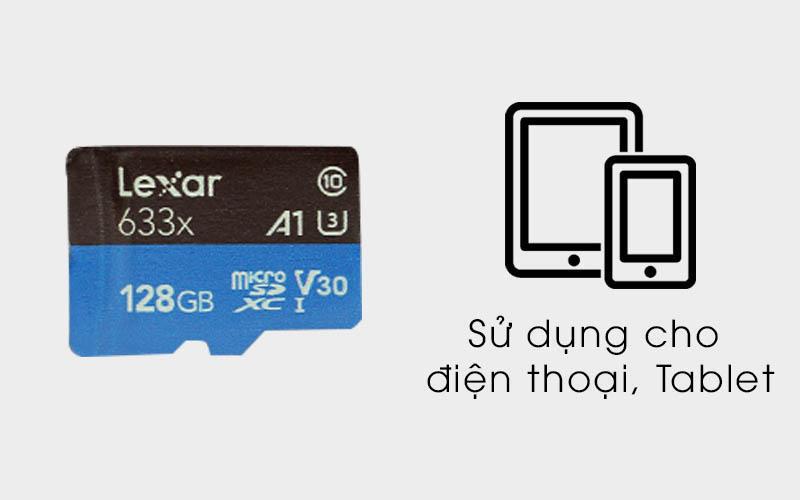 Thẻ nhớ MicroSD 128 GB Lexar class 10 UHS-I kèm Adapter dùng cho điện thoại và Tablet