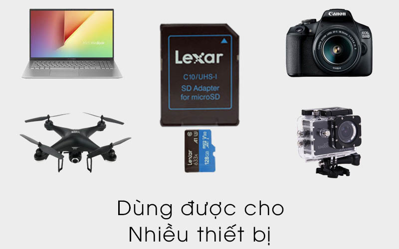 Thẻ nhớ MicroSD 128 GB Lexar class 10 UHS-I kèm Adapter