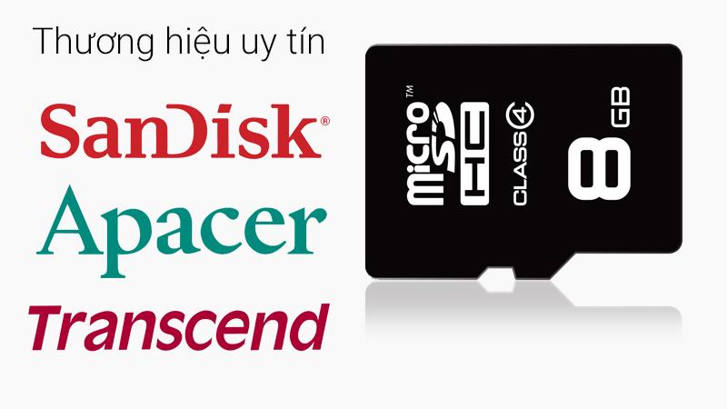 Thẻ nhớ MicroSD 8Gb Class 4 - Thương hiệu SanDick, Transcend và Apacer nổi tiếng toàn cầu