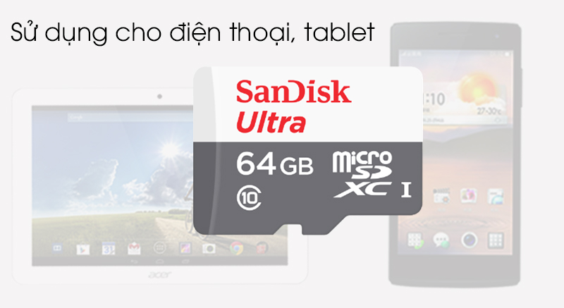 Thẻ nhớ MicroSD 64GB Sandisk Class 10 - Sử dụng cho điện thoại, máy tính bảng