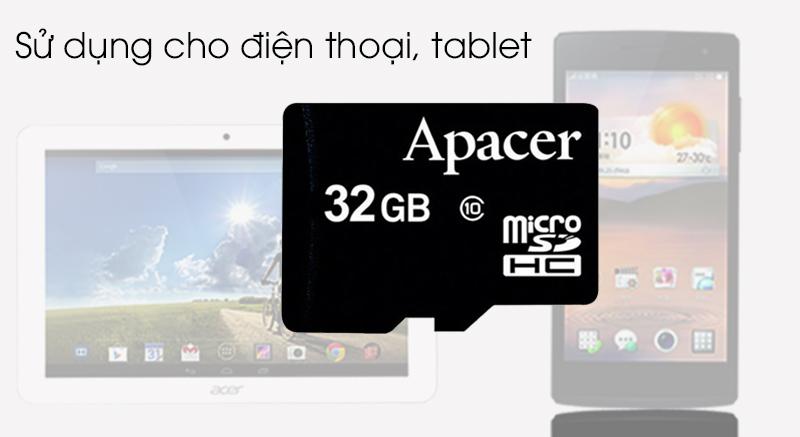 Thẻ nhớ MicroSD 32GB Apacer Class 10 UHS-1 - Sử dụng cho điện thoại, máy tính bảng