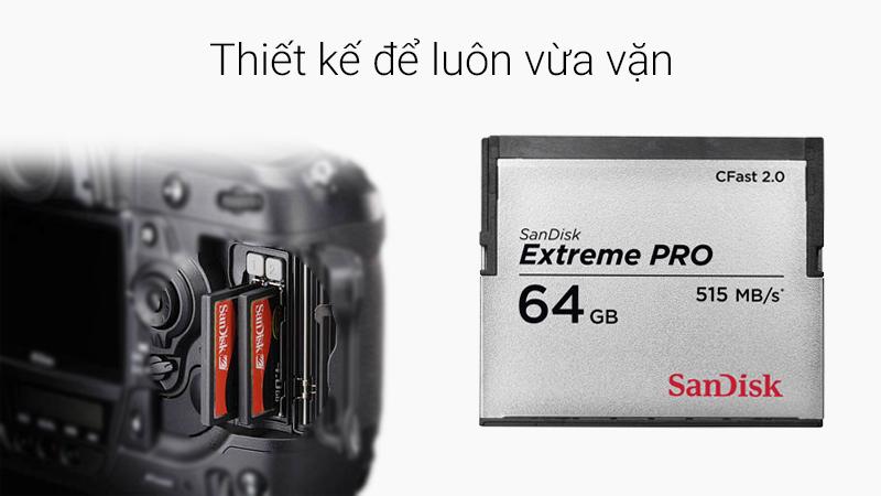 Thẻ nhớ Pro Cfast 64 GB Sandisk Extreme - Sản phẩm chuyên dụng cho máy chụp ảnh cơ (DSLR) và máy quay