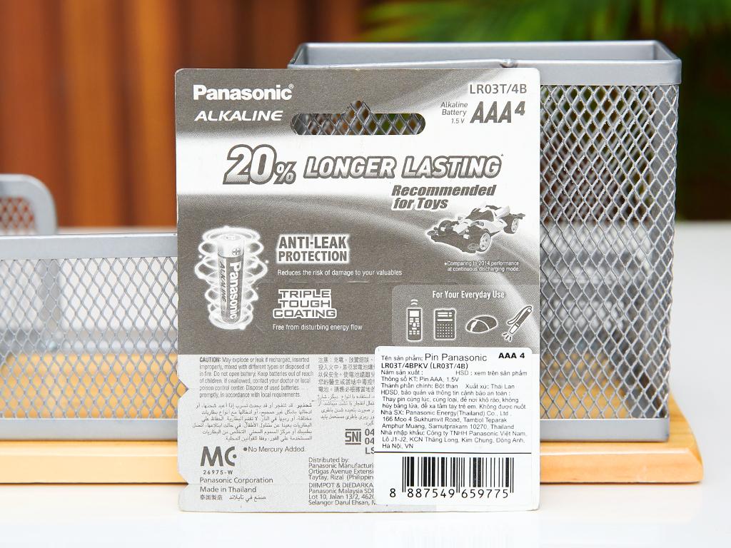 Vỉ 4 viên Pin tiểu AAA Panasonic Alkaline LR03T/4BPKV (LR03T/4B-V) 3