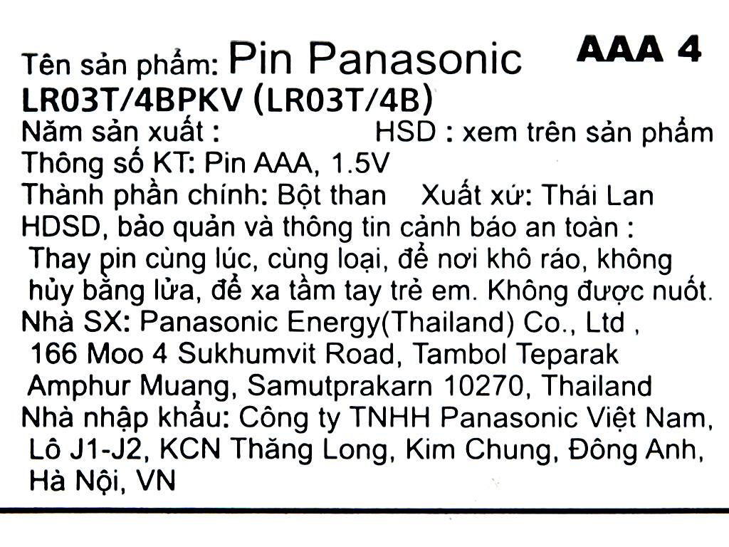 Vỉ 4 viên Pin tiểu AAA Panasonic Alkaline LR03T/4BPKV (LR03T/4B-V) 6