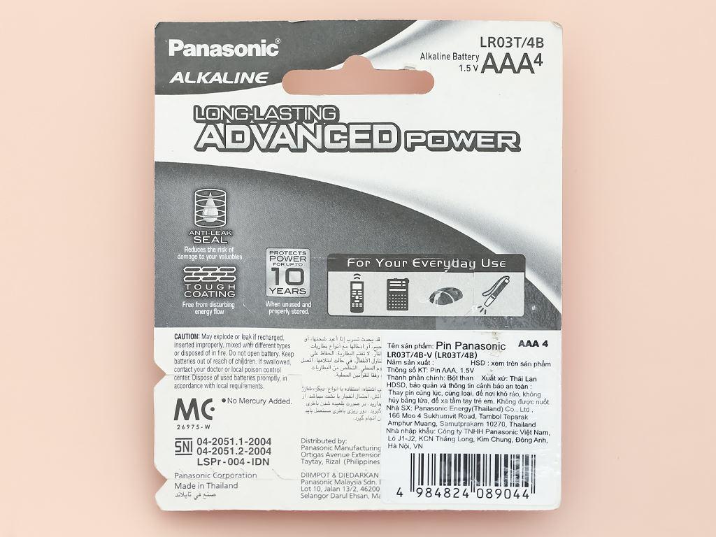 Vỉ 4 viên Pin tiểu AAA Panasonic Alkaline LR03T/4BPKV (LR03T/4B-V) 2