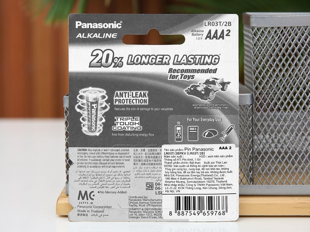 Vỉ 2 viên Pin tiểu AAA Panasonic Alkaline LR03T/2BPKV ( LR03T/2B-V) 2