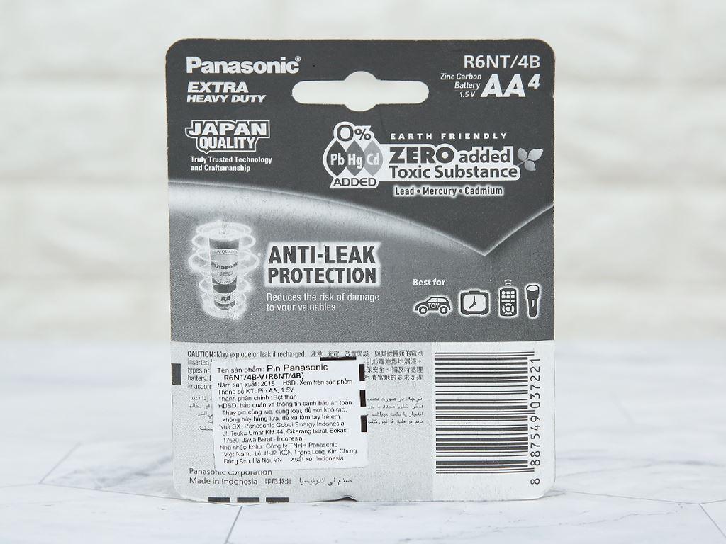 Vỉ 4 viên Pin tiểu AA Panasonic Manganese R6NT/4B-V 2