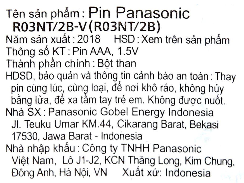 Vỉ 2 viên Pin tiểu AAA Panasonic Manganese R03NT/2B-V 5
