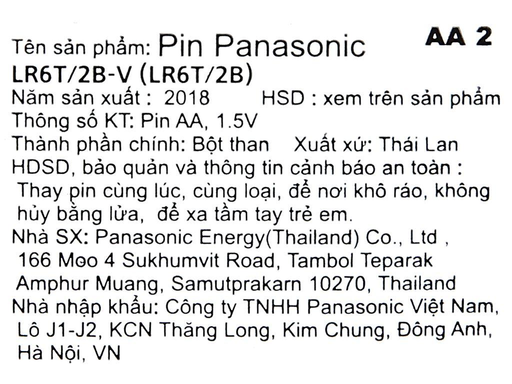 Vỉ 2 viên Pin tiểu AA Panasonic 1.5V Pana Alkaline LR6T/2B-V 6