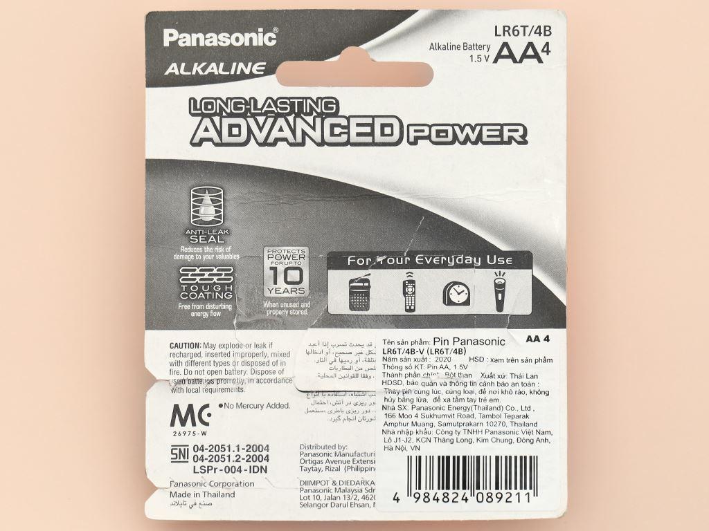 Vỉ 4 viên Pin tiểu AA Panasonic Alkaline AA LR6T/4B-V (LR6T/4B) 7