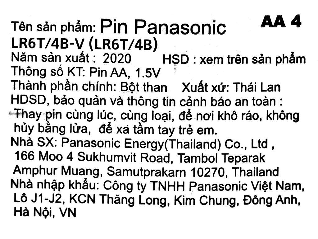 Vỉ 4 viên Pin tiểu AA Panasonic Alkaline AA LR6T/4B-V (LR6T/4B) 11