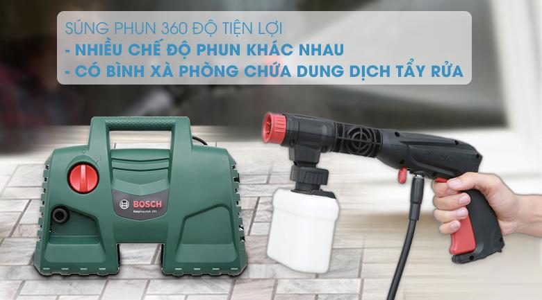 Trang bị súng phun xoay 360 độ, bình chứa xà phòng - Máy phun xịt rửa áp lực cao Bosch Easy AQT 100