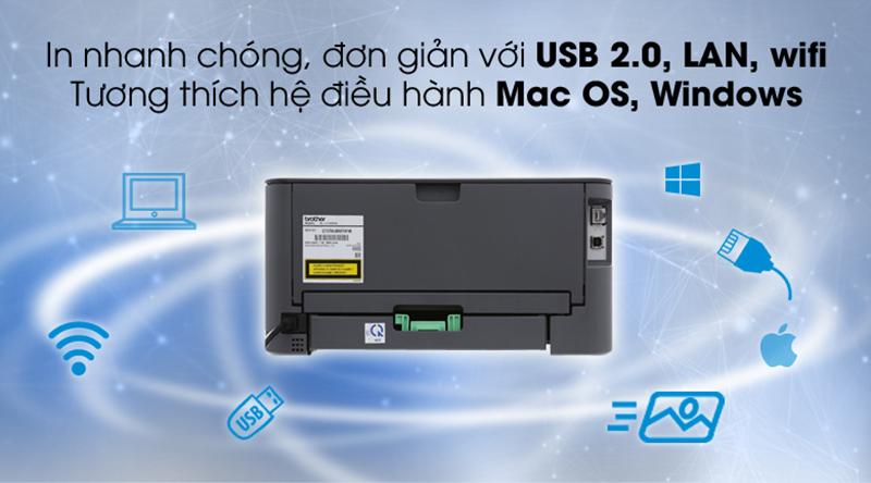 Kết nối USB, LAN, WIFI - Máy in Laser Brother HL-L2366DW Wifi