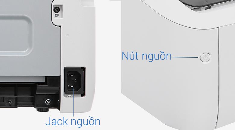 Máy in Laser Canon LBP 6030W Wifi - Cắm dây nguồn vào jack nguồn, nhấn nút nguồn để bật máy