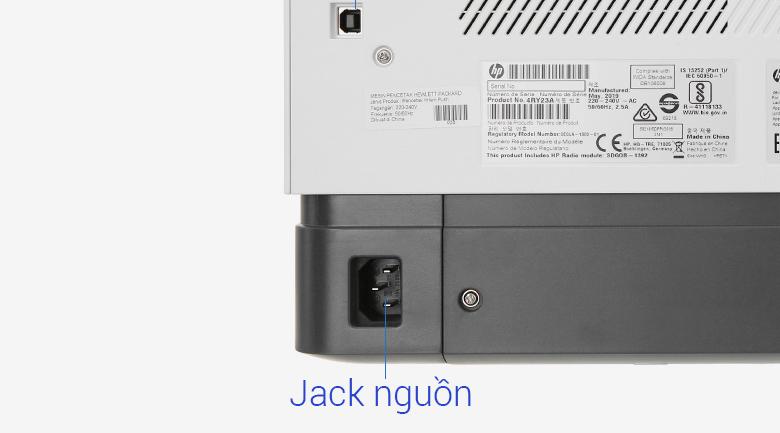 Máy in HP Neverstop 1000w (4RY23A) - Cấp điện bằng cách cắm dây nguồn vào cổng nguồn