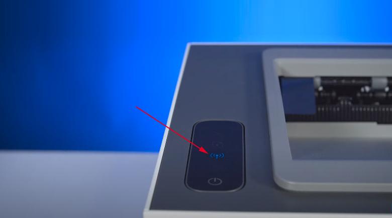 Máy in HP Neverstop 1000w (4RY23A) - Nhấn và giữ nút Wifi internet trên máy in