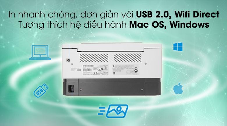 Máy in HP Neverstop Laser 1000w (4RY23A) - Kết nối