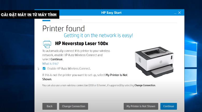 Máy in HP Neverstop 1000w (4RY23A) - Cài driver