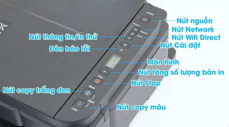 Máy in phun màu đa năng In-Scan-Copy Canon PIXMA G3010 - Chi tiết bảng điều khiển