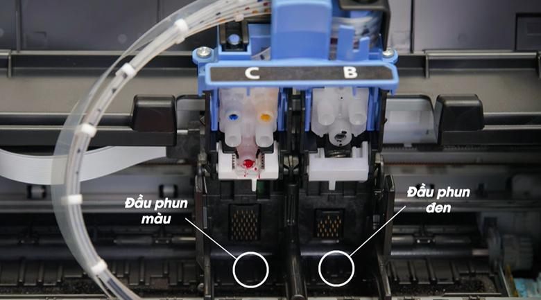 Máy in phun màu đơn năng Canon PIXMA G1010 - Lắp đặt đầu phun màu và đầu phun đen vào vị trí như trong hình