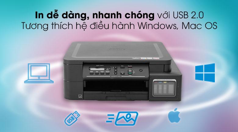 Máy in phun màu đa năng In Scan Copy Brother DCP - T310 - Sử dụng cổng kết nối USB 2.0