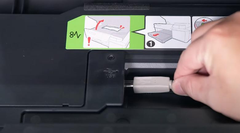 Máy in phun màu đa năng Brother DCP-T310 - Liên kết máy in với laptop qua dây cáp USB