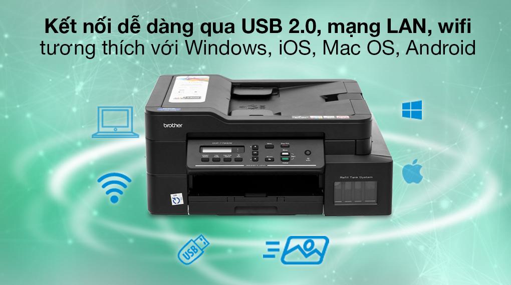 Máy in phun màu đa năng In-Scan-Copy Brother DCP-T720DW - Kết nối máy in