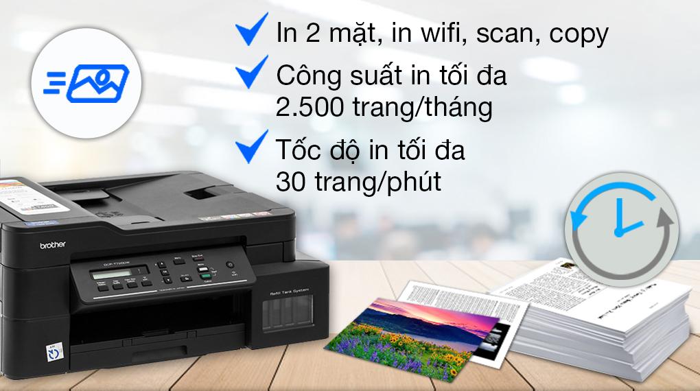 Máy in phun màu đa năng In-Scan-Copy Brother DCP-T720DW - Công suất in