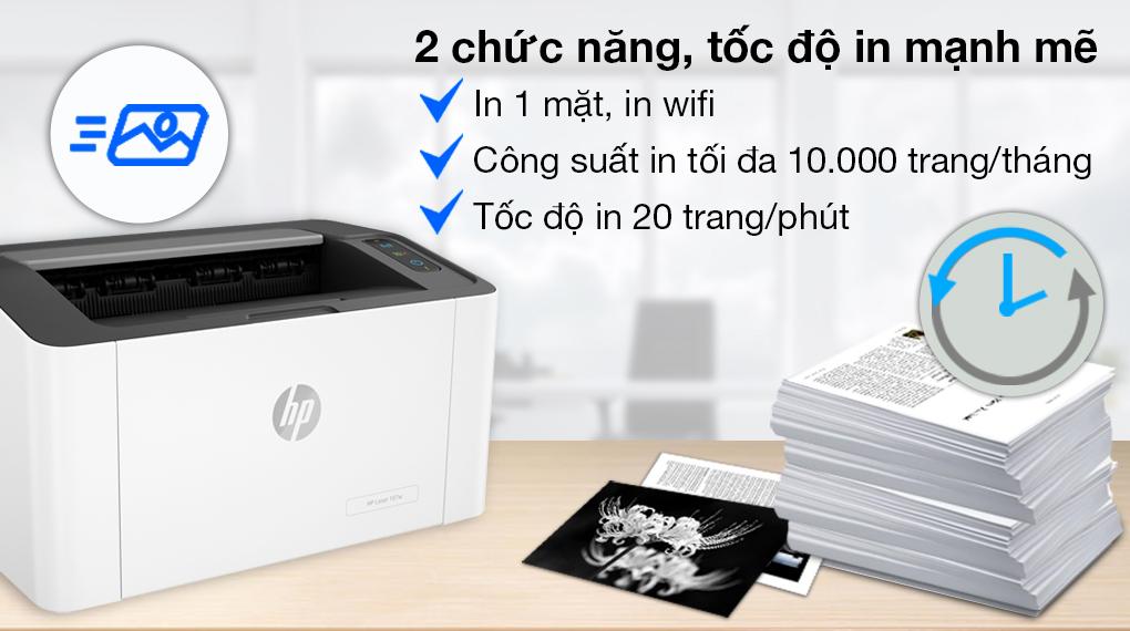Máy in Laser Trắng Đen HP 107w WiFi (4ZB78A) - Chức năng in
