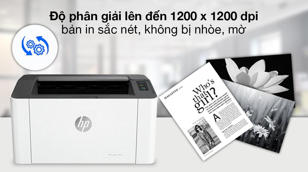 Máy in Laser Trắng Đen HP 107w WiFi (4ZB78A) - Độ nét